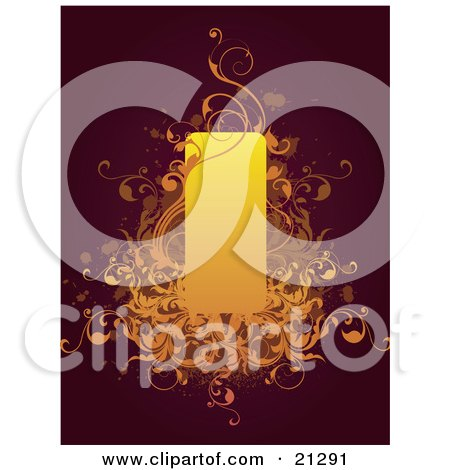 Clipart Illustration of a Brown Background With Orange Scrolls And An Illuminated Candle by OnFocusMedia