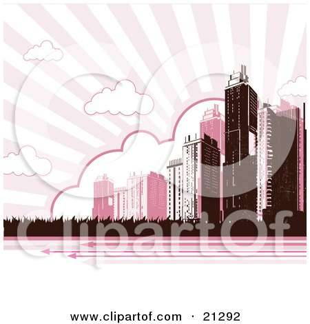 Clipart Illustration of a Tall City Skyscraper Buildings Under Clouds In A Striped Pink Sky by OnFocusMedia