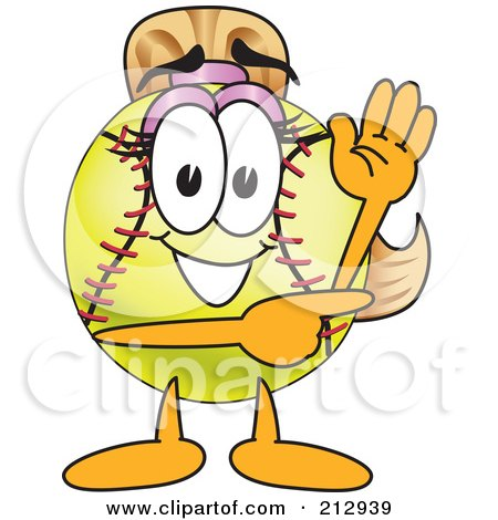 Royalty-Free (RF) Clipart Illustration of a Girly Softball Mascot Character Waving And Pointing by Toons4Biz