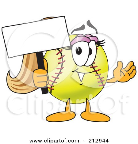 Royalty-Free (RF) Clipart Illustration of a Girly Softball Mascot Character Holding A Blank Sign by Toons4Biz