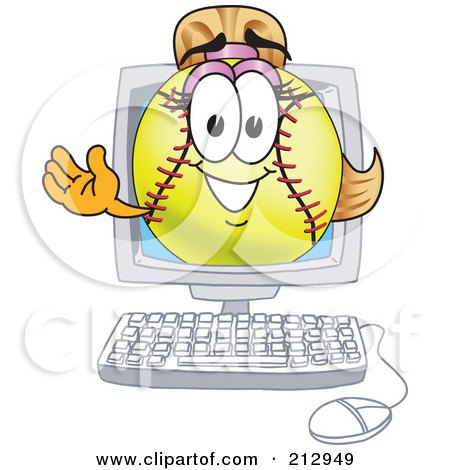 Royalty-Free (RF) Clipart Illustration of a Girly Softball Mascot Character Waving From A Computer Screen by Toons4Biz