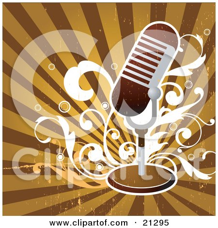 Clipart Illustration of a Retro Microphone On A Stand Over White Scrolls On A Striped Brown And Orange Background by OnFocusMedia