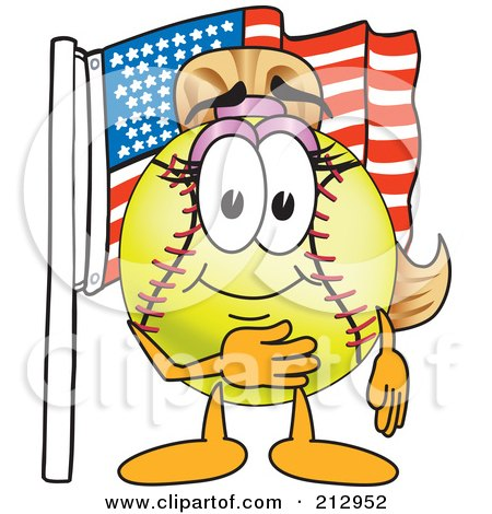 Royalty-Free (RF) Clipart Illustration of a Girly Softball Mascot Character By An American Flag by Toons4Biz