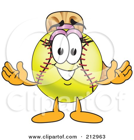 Royalty-Free (RF) Clipart Illustration of a Girly Softball Mascot Character Smiling by Toons4Biz