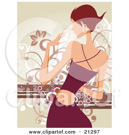 Clipart Illustration of a Dancing Woman With Short Hair, Wearing Hoop Earrings And A Fashionable Dress Against A Scrolled Background by OnFocusMedia