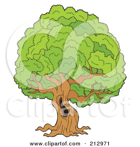 Royalty-Free (RF) Clipart Illustration of a Hole In A Large Old Tree by visekart