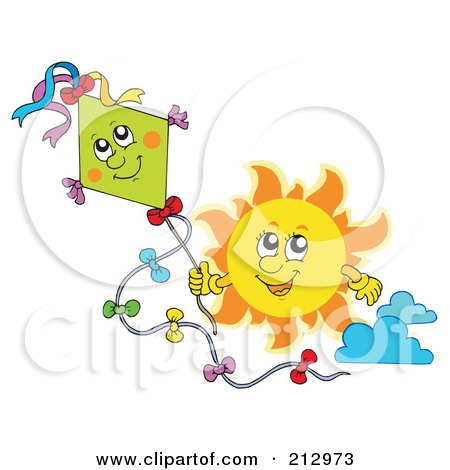Royalty-Free (RF) Clipart Illustration of a Sun Flying A Happy Kite by visekart