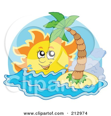 Royalty-Free (RF) Clipart Illustration of a Happy Sun Shining Over Waves Near A Small Tropical Island by visekart