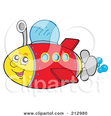 Royalty-Free (RF) Clipart Illustration of a Happy Submarine by visekart