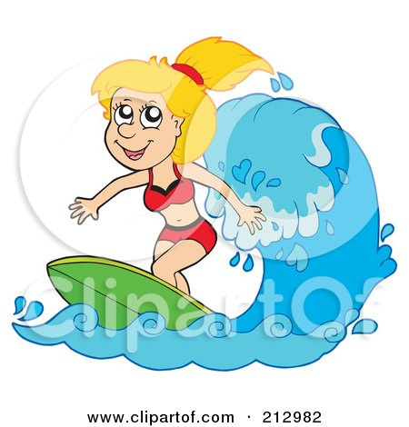 Royalty-Free (RF) Clipart Illustration of a Happy Blond Woman Surfing A Wave by visekart