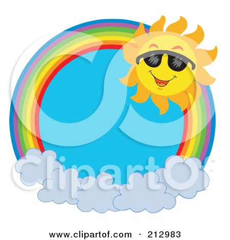 Royalty-Free (RF) Clipart Illustration of a Happy Sun On A Rainbow Over Clouds by visekart