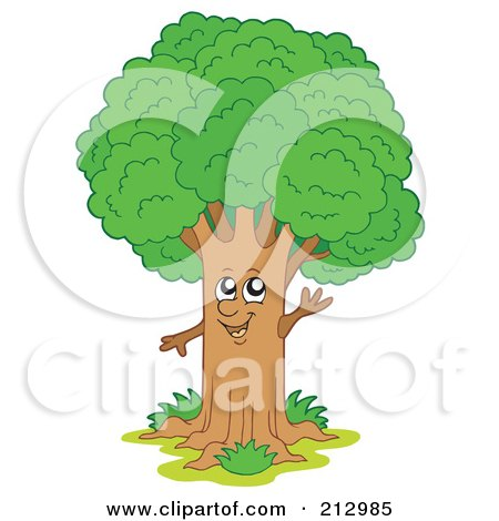 Royalty-Free (RF) Clipart Illustration of a Happy Waving Tree by visekart