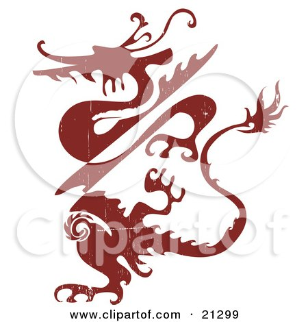Clipart Illustration of a Grunge Red Silhouetted Dragon Creature by OnFocusMedia