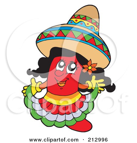 Royalty-Free (RF) Clipart Illustration of a Female Mexican Chili Pepper Wearing A Sombrero by visekart