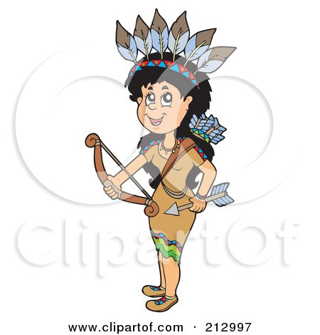 Royalty-Free (RF) Clipart Illustration of a Native American Woman Holding A Bow And Arrow by visekart