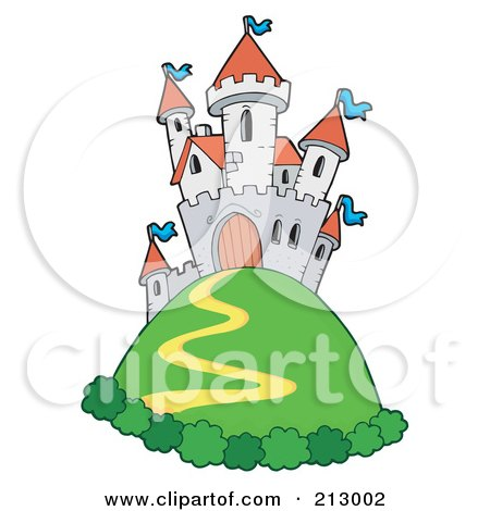 Royalty-Free (RF) Clipart Illustration of a Path Winding Up To A Castle On A Green Hill by visekart
