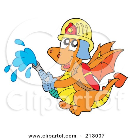 Royalty-Free (RF) Clipart Illustration of a Green Chinese Dragon Fire Fighter Holding A Hose by visekart