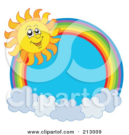 Royalty-Free (RF) Clipart Illustration of a Rainbow And Cloud Circle With A Summer Time Sun Smiling by visekart