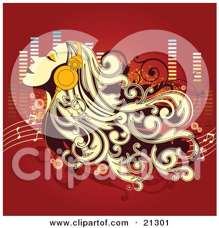 Clipart Illustration of a Relaxed Woman With Long Blond Hair, Tilting Her Head Back In The Breeze While Listening To Music Through Headphones by OnFocusMedia