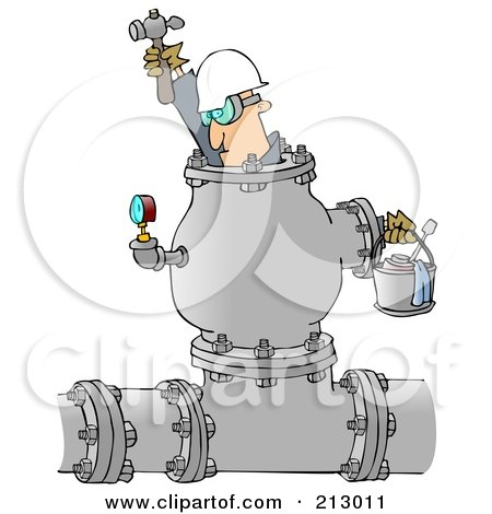 Royalty-Free (RF) Clipart Illustration of an Industrial Worker Inside A Large Pipe by djart