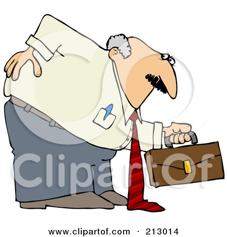 Royalty-Free (RF) Clipart Illustration of a Chubby Old Businessman Hurting His Back While Bending Over To Pick Up A Briefcase by djart