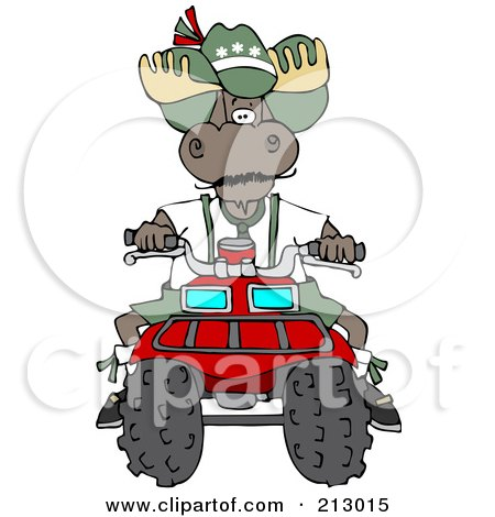 Royalty-Free (RF) Clipart Illustration of a Bull Moose Operating A Recreational ATV Four Wheeler by djart