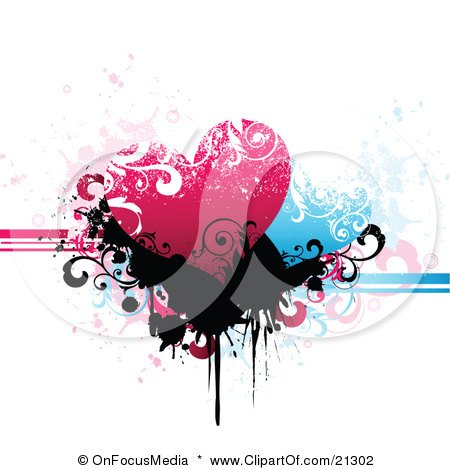 Clipart Illustration of a Pink And Blue Hearts Over Black Scrolls And Splatters On A Grunge Background by OnFocusMedia