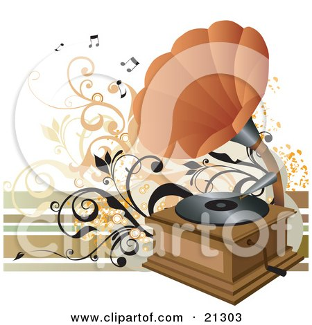 Clipart Illustration of a Vintage Phonograph With An Orange Cone, Playing Music On A Vinyl Record by OnFocusMedia