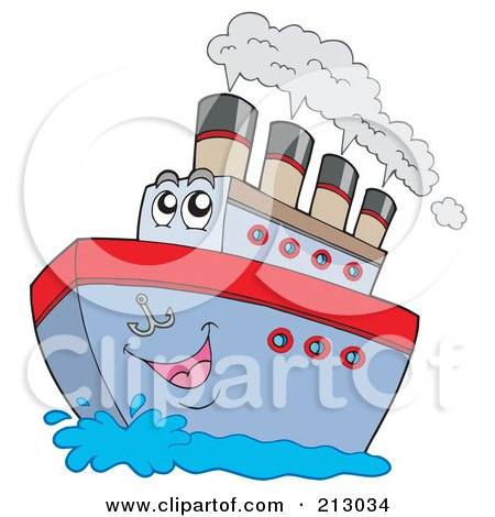 Royalty-Free (RF) Clipart Illustration of a Happy Boat Character With Steam by visekart