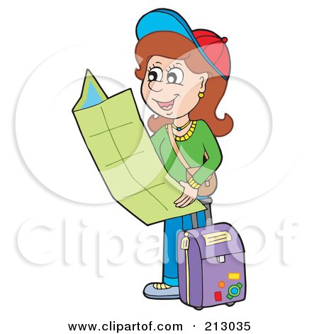 Royalty-Free (RF) Clipart Illustration of a Happy Brunette Woman Traveler Holding A Map by visekart