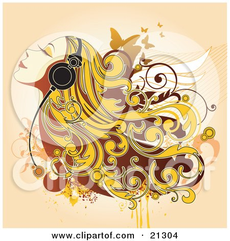 Clipart Illustration of a Happy Woman With Blond Hair, Listening To Relaxing Music Through Headphones by OnFocusMedia