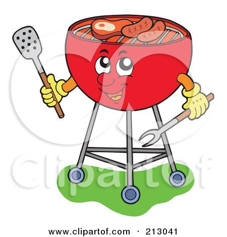 Royalty-Free (RF) Clipart Illustration of a Happy Barbeque Grill Holding Utensils by visekart