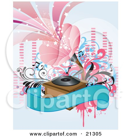 Clipart Illustration of a Retro Gramophone Radio Playing Loud Music From A Record On A Vinyl Player With A Blank Blue Banner And Music Notes by OnFocusMedia