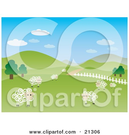 Clipart Illustration of a Green Pasture Of Rolling Hills With Sheep Scattered On The Farmland And A White Fence Leading Along A Driveway by OnFocusMedia