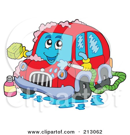 Royalty-Free (RF) Clipart Illustration of a Red Car Character Bathing by visekart