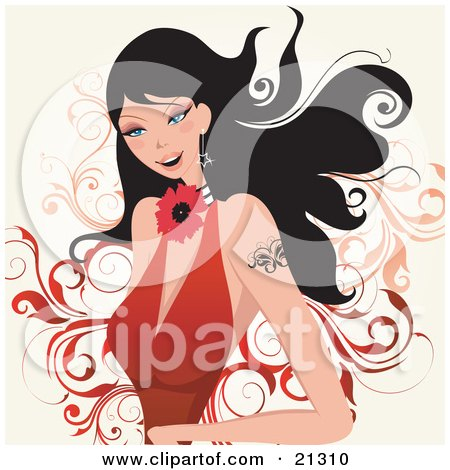 Clipart Illustration of an Attractive Caucasian Woman With Blue Eyes, Black Hair And A Butterfly Tattoo On Her Arm, Wearing A Flower Necklace And A Low Cut Red Dress by OnFocusMedia