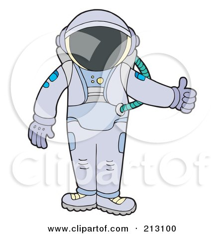 Royalty-Free (RF) Clipart Illustration of a Suited Astronaut Holding A Thumb Up by visekart