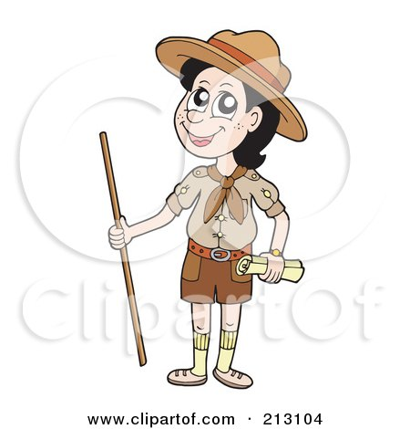 Royalty-Free (RF) Clipart Illustration of a Happy Scout With A Walking Stick by visekart