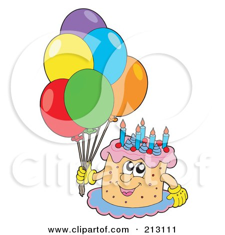 happy birthday cake and balloons. Happy Birthday Cake Character
