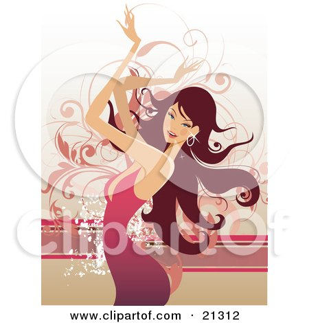 Clipart Illustration of a Beautiful Caucasian Woman With Long Hair, Wearing A Pink Dress And Moving Her Arms Above Her Head While Dancing by OnFocusMedia