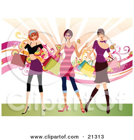 Clipart Illustration of Three Rich Caucasian Women Dressed In Stylish Clothing, Carrying Shopping Bags And Purses And Shopping by OnFocusMedia