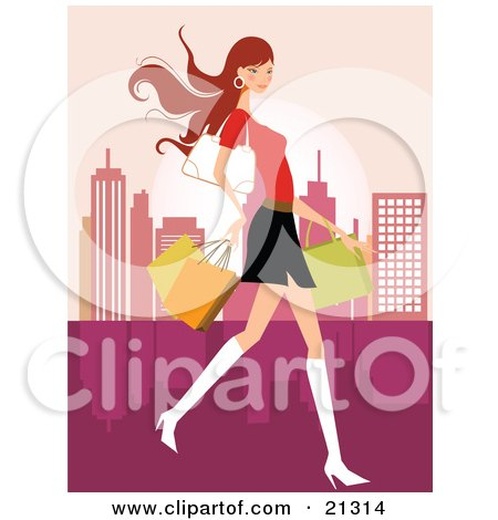 Clipart Illustration of a Pretty Caucasian Woman In A Mini Skirt And Boots, Carrying A Purse And Shopping Bags While Touring A City by OnFocusMedia