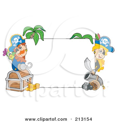 Royalty-Free (RF) Clipart Illustration of Male And Female Pirates Peeking Around A Blank Sign by visekart