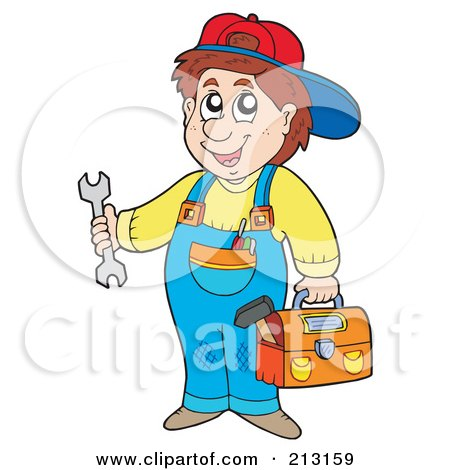 Royalty-Free (RF) Clipart Illustration of a Happy Repair Man Holding Tools by visekart