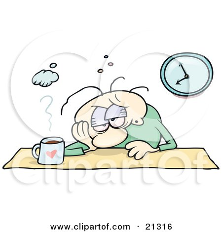 Clipart Illustration of an Employed Man, Sulking At His Desk With A Hangover, Or A Depression, With A Cup Of Coffee In Front Of Him by gnurf