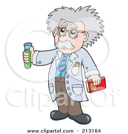 Royalty-Free (RF) Clipart Illustration of a Senior Scientist Holding A Test Tube by visekart