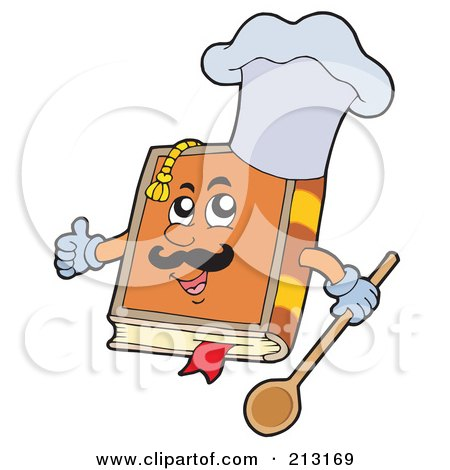 Royalty-Free (RF) Clipart Illustration of a Happy Cook Book Wearing A Hat And Holding A Spoon by visekart