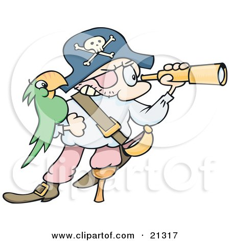 Clipart Illustration of a Pirate Man In A Jolly Roger Hat, Peering Through A Telescope, His Green Parrot On His Arm by gnurf