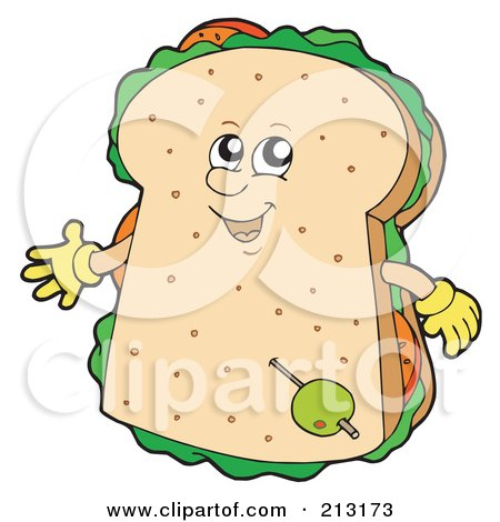 Royalty-Free (RF) Clipart Illustration of a Happy Sandwich by visekart