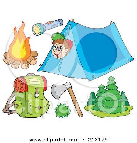 Royalty-Free (RF) Clipart Illustration of a Digital Collage Of A Camping Boy And Camping Items by visekart
